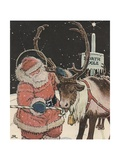 Illustration of Santa Feeding Reindeer Candy Cane Giclee Print by John Rae