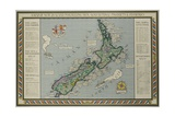 A Map of New Zealand Portraying Her Agricultural Products and Fisheries Giclee Print