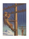 A Telegraph Lineman Illustration Giclee Print