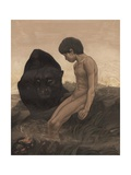 Mowgli and Bagheera Giclee Print by Edward Julius Detmold