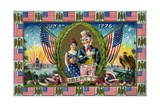 July 4th 1776 Postcard with Uncle Sam and Lady Liberty Giclee Print