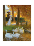 Lovers and Swans, The Autumn Walk Giclee Print by Gaston De Latouche