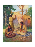Illustration of Daily Life in Native American Village Giclee Print by Arnold Lorne Hicks
