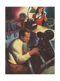 Editing Film Illustration Giclee Print