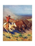 Illustration of Native American Man Hunting Buffalo Giclee Print by Arnold Lorne Hicks