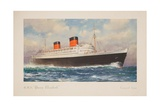R.M.S. Queen Elizabeth Poster Giclee Print by Charles E. Turner