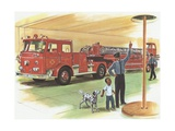 Illustration of Boy Touring Fire Station Giclee Print
