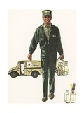 Illustration of Milkman Delivering Milk Giclee Print