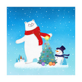 Illustration of a Christmas Tree Between Polar Bear and Snowman Giclee Print