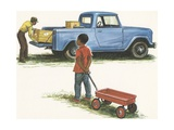 Illustration of Boy Looking at Pickup Truck Giclee Print
