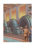 Electric Light Generators Illustration Giclee Print