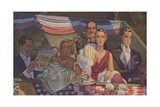 Illustration of Men and Women Sitting in Stands Giclee Print