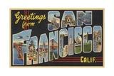 Greetings from San Francisco California Postcard Giclee Print