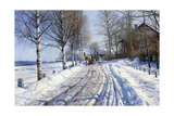 Winter Scene, Dalarne Giclee Print by Peder Monsted
