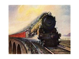 Illustration of Steam Engine Speeding over Bridge Giclee Print
