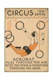 Acrobat Flies Through the Air Illustration - Giclee Baskı