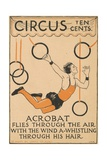 Acrobat Flies Through the Air Illustration Giclee Print