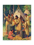 Illustration of Native Americans Preparing Corn Giclee Print by Arnold Lorne Hicks