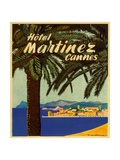 Hotel Martinez Cannes Luggage Label Giclee Print