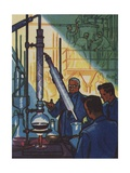 Becoming Oil Experts Illustration Giclee Print
