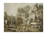 Figures on the River Banks at St. Etienne, Caen Giclee Print by Samuel Prout
