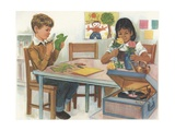 Illustration of School Children Working on Projects Giclee Print