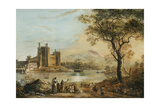 Caernarvon Castle, with a Harper in the Foreground Giclee Print by Paul Sandby