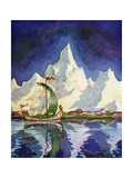 Siegfried's Voyage with Bragi Giclee Print by Peter Hurd
