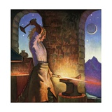 Illustration of Siegfried Forging His Sword Giclee Print by Peter Hurd