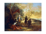Africa: a European Merchant Bartering with a Black Chief Giclee Print by Jean-Baptiste Oudry