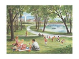 Illustration of Family Having Picnic in Park Giclee Print