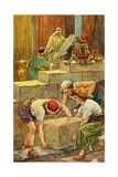 The Building of the Temple of Solomon Giclee Print by Clara M. Burd
