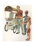 Illustration of Ice Cream Man with Two Children Giclee Print