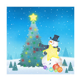 Illustration of Snowman Next to a Chirstmas Tree Giclee Print