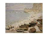Boats on the Beach at Etretat Giclee Print by Claude Monet