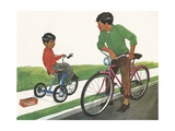 Illustration of Boys Riding Tricycle and Bicycle Giclee Print