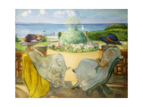 Two Young Women on a Terrace by the Sea by Henri Lebasque Giclee Print by Henri Lebasque