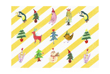 Sticker Icon Pack of Animals and Christmas Tree Giclee Print