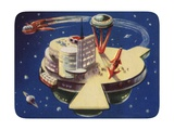 Biekens Pictorial Sticker with Futuristic Space Station Giclee Print