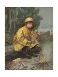 Illustration of Boy Having Snack in Rain Storm Wydruk giclee