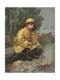 Illustration of Boy Having Snack in Rain Storm Giclee Print