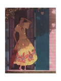 Illustration of Woman in Yellow Dress Giclee Print by Harriet Meserole