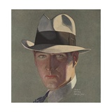 Illustration of Man Wearing Grey Fedora Giclee Print by Percy Edward Anderson