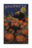 Halloween Postcard of Witch Chasing Boy Giclee Print by Bernhardt Wall