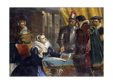 The Forced Abdication of Mary, Queen of Scots at Lochleven Castle Giclee Print by Charles Lucy