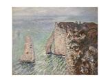 L'Aiguille and the Porte D'Eval, Etretat Giclee Print by Claude Monet