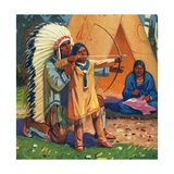 Illustration of Native American Man Teaching Son to Use Bow and Arrow Giclee Print by Arnold Lorne Hicks