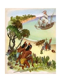 Illustration of the Arrival of Columbus in the New World Giclee Print by Janice Holland