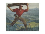 Illustration of Paul Bunyan Giclee Print