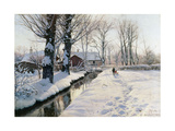 A Wooded Winter Landscape, Brondbyvester Giclee Print by Peder Monsted